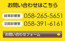 お問い合わせはこちら 岐阜診療室058-265-5651 羽島診療室058-391-6161
